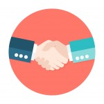 Illustration of Two Businessmen Shaking Hands Flat Circle Icon