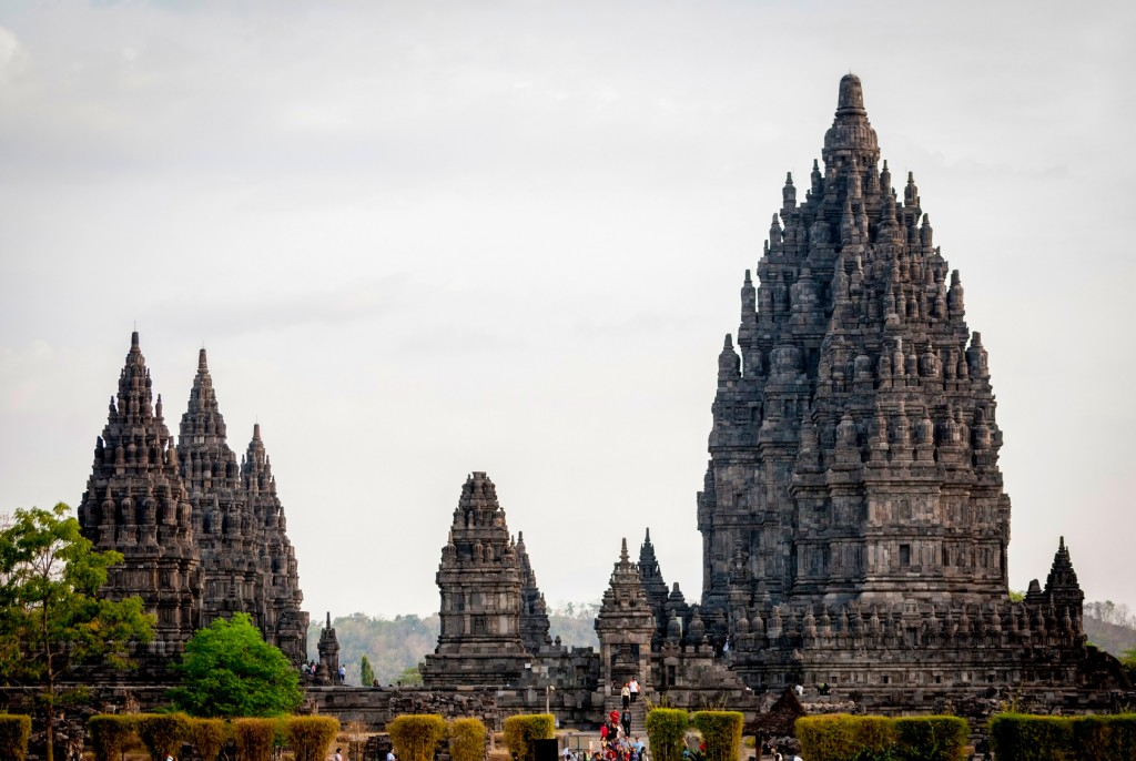 Magnificent towers of Prambanan temple, Yogjakarta, Indonesia